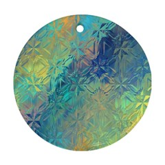 Colorful Patterned Glass Texture Background Ornament (Round)