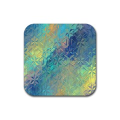 Colorful Patterned Glass Texture Background Rubber Coaster (square)