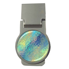 Colorful Patterned Glass Texture Background Money Clips (Round)