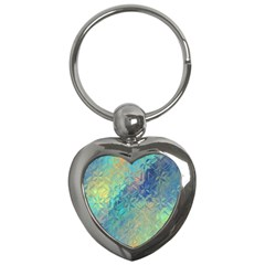 Colorful Patterned Glass Texture Background Key Chains (heart)