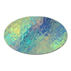 Colorful Patterned Glass Texture Background Oval Magnet