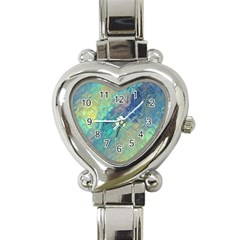 Colorful Patterned Glass Texture Background Heart Italian Charm Watch