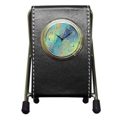 Colorful Patterned Glass Texture Background Pen Holder Desk Clocks