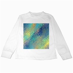 Colorful Patterned Glass Texture Background Kids Long Sleeve T Shirts