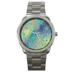 Colorful Patterned Glass Texture Background Sport Metal Watch