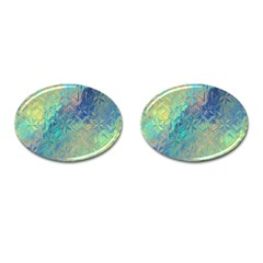 Colorful Patterned Glass Texture Background Cufflinks (oval)