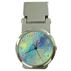 Colorful Patterned Glass Texture Background Money Clip Watches