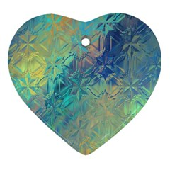 Colorful Patterned Glass Texture Background Heart Ornament (two Sides)