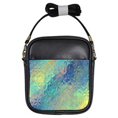 Colorful Patterned Glass Texture Background Girls Sling Bags