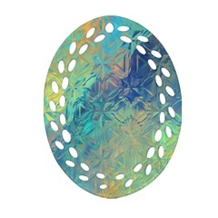 Colorful Patterned Glass Texture Background Oval Filigree Ornament (two Sides)
