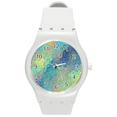 Colorful Patterned Glass Texture Background Round Plastic Sport Watch (M)