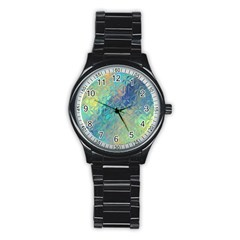 Colorful Patterned Glass Texture Background Stainless Steel Round Watch