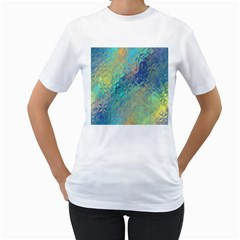 Colorful Patterned Glass Texture Background Women s T-Shirt (White)