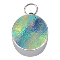 Colorful Patterned Glass Texture Background Mini Silver Compasses