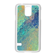 Colorful Patterned Glass Texture Background Samsung Galaxy S5 Case (White)