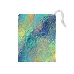 Colorful Patterned Glass Texture Background Drawstring Pouches (Medium)