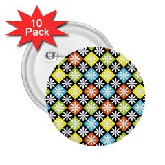 Diamond Argyle Pattern Colorful Diamonds On Argyle Style 2 25  Buttons (10 Pack)