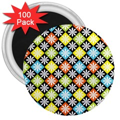 Diamond Argyle Pattern Colorful Diamonds On Argyle Style 3  Magnets (100 pack)