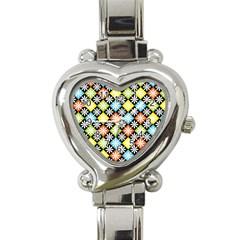 Diamond Argyle Pattern Colorful Diamonds On Argyle Style Heart Italian Charm Watch