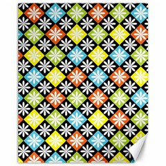 Diamond Argyle Pattern Colorful Diamonds On Argyle Style Canvas 11  x 14