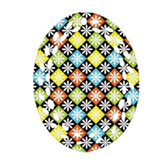 Diamond Argyle Pattern Colorful Diamonds On Argyle Style Oval Filigree Ornament (two Sides)