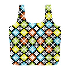 Diamond Argyle Pattern Colorful Diamonds On Argyle Style Full Print Recycle Bags (L)