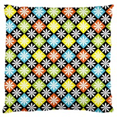 Diamond Argyle Pattern Colorful Diamonds On Argyle Style Large Flano Cushion Case (Two Sides)