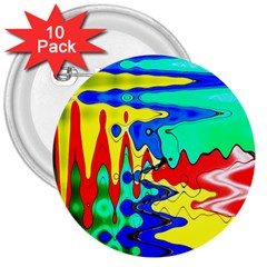 Bright Colours Abstract 3  Buttons (10 Pack)