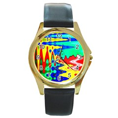 Bright Colours Abstract Round Gold Metal Watch