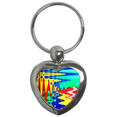 Bright Colours Abstract Key Chains (heart)