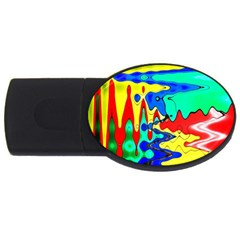 Bright Colours Abstract Usb Flash Drive Oval (2 Gb)