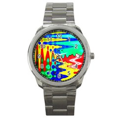 Bright Colours Abstract Sport Metal Watch
