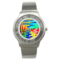Bright Colours Abstract Stainless Steel Watch