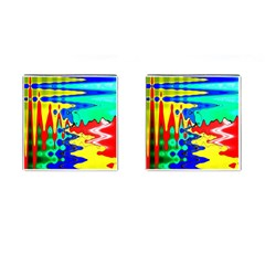 Bright Colours Abstract Cufflinks (Square)