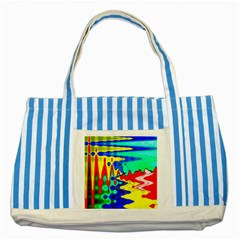 Bright Colours Abstract Striped Blue Tote Bag