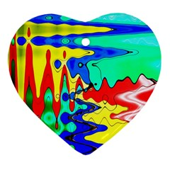 Bright Colours Abstract Heart Ornament (two Sides)