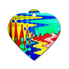 Bright Colours Abstract Dog Tag Heart (one Side)