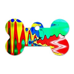 Bright Colours Abstract Dog Tag Bone (one Side)