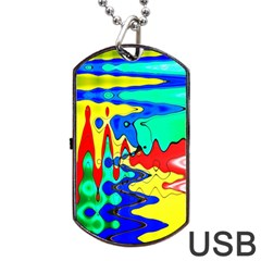 Bright Colours Abstract Dog Tag Usb Flash (one Side)