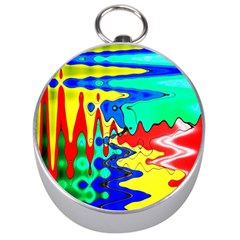 Bright Colours Abstract Silver Compasses