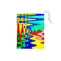 Bright Colours Abstract Drawstring Pouches (small)