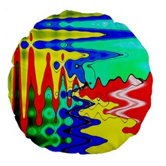 Bright Colours Abstract Large 18  Premium Flano Round Cushions