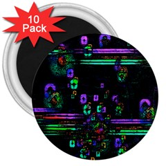 Digital Painting Colorful Colors Light 3  Magnets (10 pack)