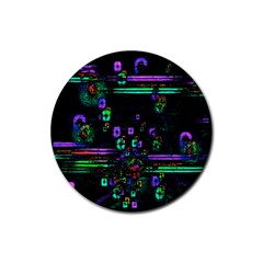 Digital Painting Colorful Colors Light Rubber Round Coaster (4 Pack)