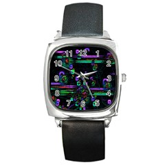 Digital Painting Colorful Colors Light Square Metal Watch