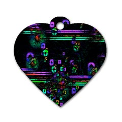 Digital Painting Colorful Colors Light Dog Tag Heart (two Sides)