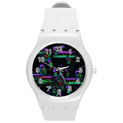 Digital Painting Colorful Colors Light Round Plastic Sport Watch (M)