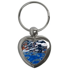 Colorful Reflections In Water Key Chains (Heart)