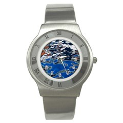 Colorful Reflections In Water Stainless Steel Watch