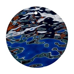 Colorful Reflections In Water Round Ornament (two Sides)